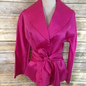 Jones NY Collection Fuchsia Sash Tie Blouse, NWT